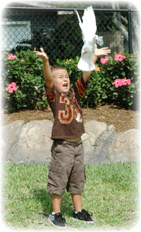 Young boy releasing dove