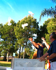 White doves for memorial service